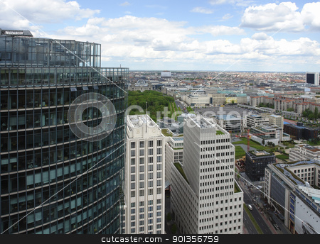 aerial view of Berlin at summer time stock photo, aerial view of Berlin (Germany) from the Daimler-Chrysler building by prill