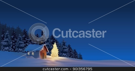 Christmas Greeting stock photo, Christmas Cottage - christmas background illustration by derocz