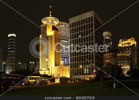 Pudong in Shanghai at night stock photo, city view at night showing Pudong, a district of Shanghai in China by prill