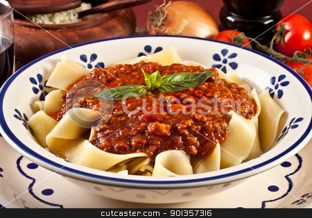 Tagliatelle Bolognese stock photo, tagliatelle bolognsese - meat sauce and basil by maxg71