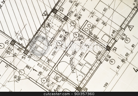 architectural blueprints stock photo, architectural blueprints by vician