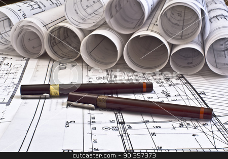 architectural blueprints stock photo,  by vician