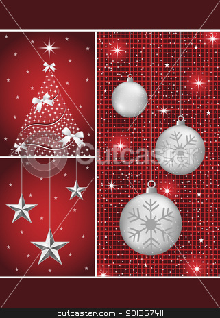 Christmas balls, tree and stars stock vector clipart, Christmas balls in silver with snowflakes, xmas tree and hanging stars on a dark red themed background. by toots77