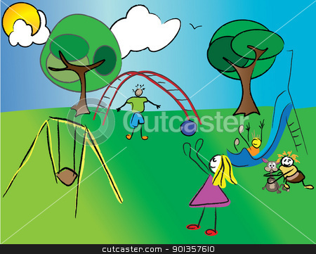 Family Playing Outside Clipart