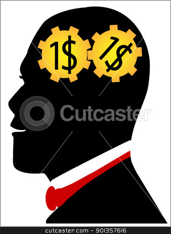 Human head with gear stock vector clipart, Human head with gear by vician