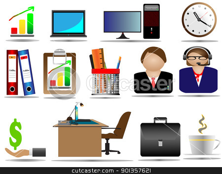 Office Icon Set stock vector clipart, Office Icon Set by vician