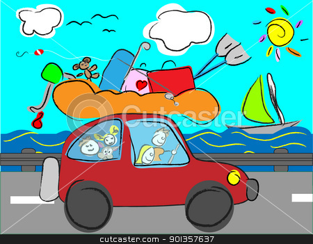 funny hand drawn family goes on holiday by car with luggage stock vector clipart, funny hand drawn family goes on holiday by car with luggage by vician