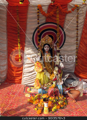 Hindu Goddess Durga stock photo, Hindu Goddess Durga by Zvonimir Atletic