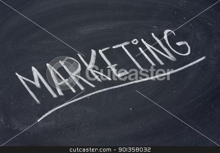 marketing word on blackboard stock photo, marketing word in white chalk handwriting on blackboard by Marek Uliasz