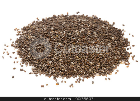 chia seed pile stock photo, a heap of organic chia seeds rich in omega-3 fatty acids, side view on white, by Marek Uliasz