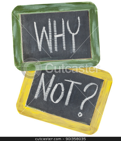 why not question  stock photo, why not question or speculation  - white chalk text on two vintage slate blackboards, isolated on white by Marek Uliasz