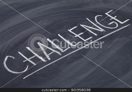 challenge word on blackboard stock photo, challenge word in white chalk handwriting on blackboard by Marek Uliasz
