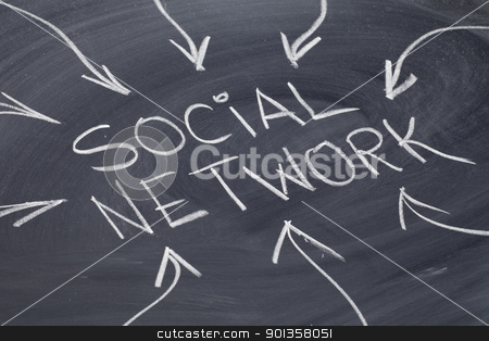 social network stock photo, social network concept - white chalk drawing on a blackboard by Marek Uliasz
