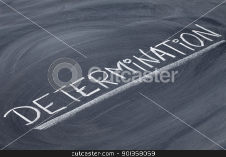 determination word on blackboard stock photo, determination word in white chalk handwriting on blackboard by Marek Uliasz