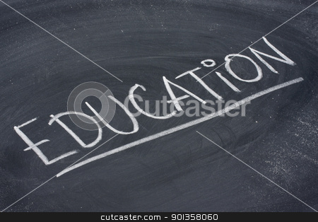 education word on blackboard stock photo, education, word in white chalk handwriting on blackboard by Marek Uliasz