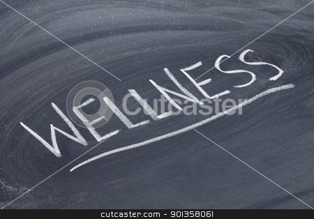 wellness word on blackboard stock photo, wellness  word in white chalk handwriting on blackboard by Marek Uliasz