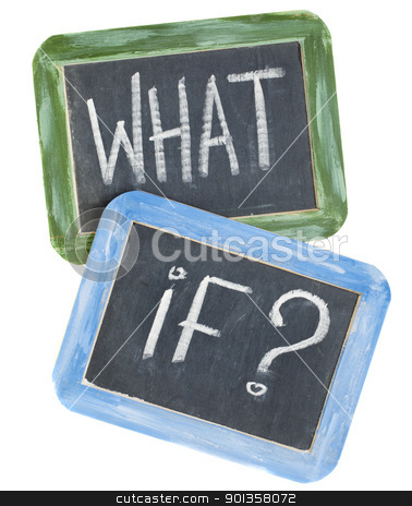 what if question stock photo, what if question - white chalk text on two vintage slate blackboards, isolated on white by Marek Uliasz