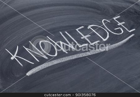 knowledge word on blackboard stock photo, word in white chalk handwriting on blackboard by Marek Uliasz