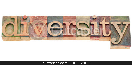 diversity word in letterpress type stock photo, diversity - isolated word in vintage wood letterpress printing blocks by Marek Uliasz