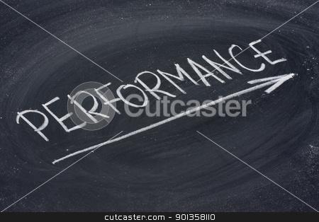 performance word on blackboard stock photo, performance word in white chalk handwriting on blackboard by Marek Uliasz