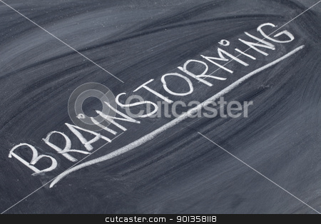brainstorming word on blackboard stock photo, brainstorming word in white chalk handwriting on blackboard by Marek Uliasz