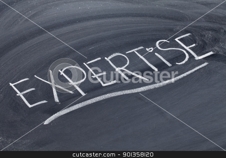 expertise word on blackboard stock photo, expertise word in white chalk handwriting on blackboard by Marek Uliasz