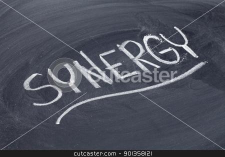 synergy word on blackboard stock photo, synergy word in white chalk handwriting on blackboard by Marek Uliasz