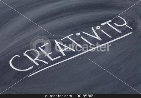 creativity word on blackboard stock photo, creativity word in white chalk handwriting on blackboard by Marek Uliasz
