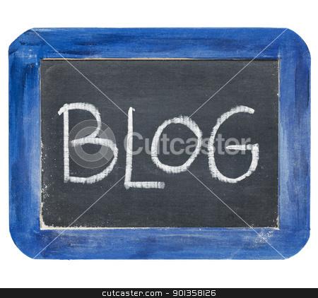 blog on slate blackboard stock photo, blog word - white chalk handwriting on old slate blackboard with grunge blue wood frame by Marek Uliasz