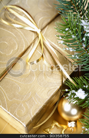 Christmas composition stock photo, Christmas composition with branch of Christmas tree and gift box by klenova