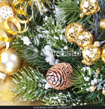 Christmas composition stock photo, Christmas composition with branch of Christmas tree and decorations by klenova