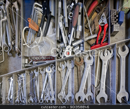 various hand tools stock photo, drawer filled with lots of hand tools and industrial equipment.Full frame detail seen from above by prill