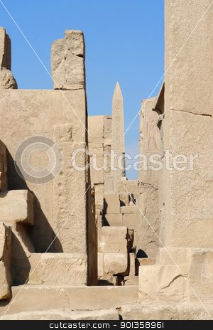Precinct of Amun-Re in Egypt stock photo, sunny illuminated architectural scenery at the Precinct of Amun-Re in Egypt (Africa) by prill