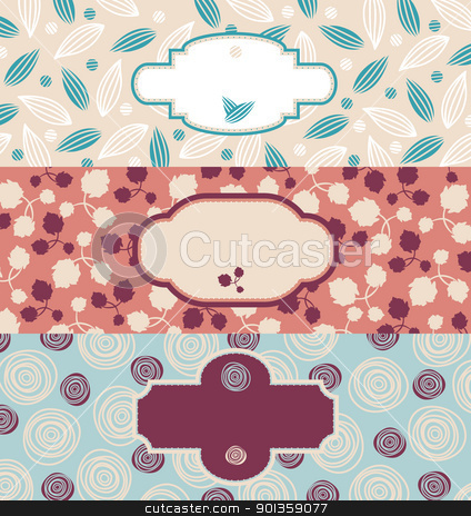 set of cute floral banners stock vector clipart, set of cute floral banners vector illustration by SelenaMay