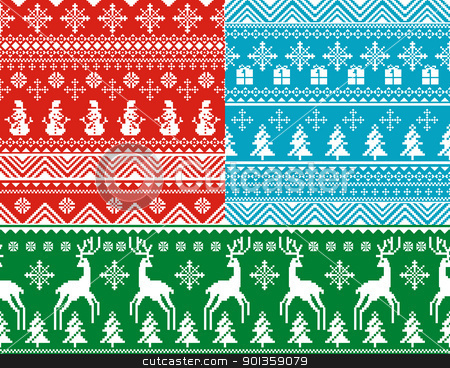 seamless christmas backgrounds stock vector clipart, set of abstract vector seamless christmas backgrounds by SelenaMay