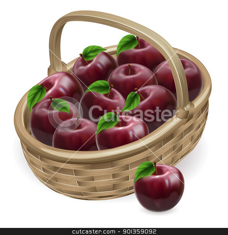 Red apple basket illustration  stock vector clipart, Illustration of a basket of fresh tasty shiny red apple by Christos Georghiou