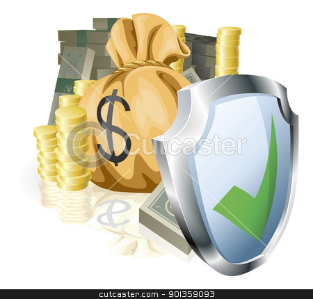 Secure money concept stock vector clipart, Stacks of money being protected by a indicating it is secure or guaranteed  by Christos Georghiou