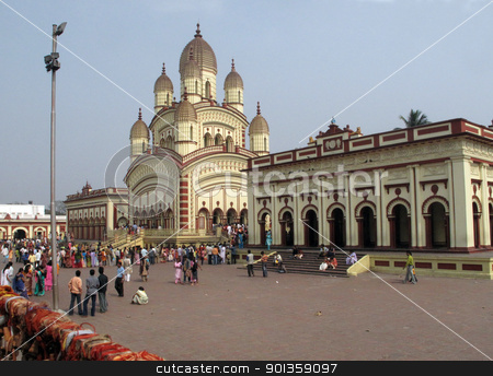 Hindu temple in Dakshineswar stock photo, KOLKATA, INDIA - FEBRUARY 02: Hindu temple in Dakshineswar, February 02,2009 in Kolkata, India. by Zvonimir Atletic