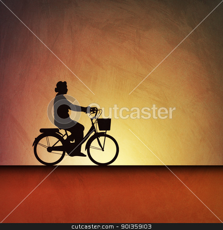 Bicycle Background stock photo, An Artistic Vintage Grunge Illustration Landscape with a Bicycle by Binkski Art