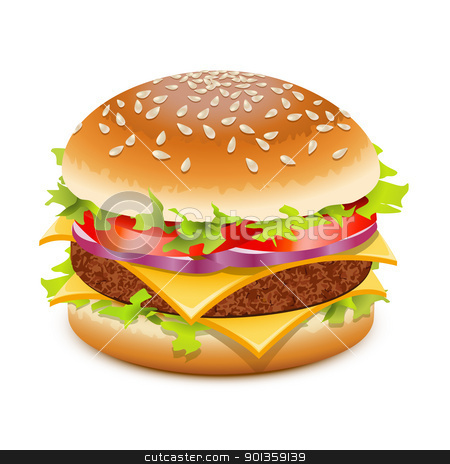 Cheeseburger  stock vector clipart, Cheeseburger, hamburger with cheese over white by Laurent Renault