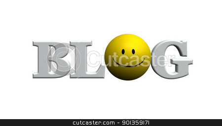 blog stock photo, the word blog with smiley - 3d illustration by J?