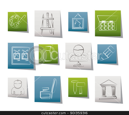 Fine art objects icons  stock vector clipart, Fine art objects icons - vector icon set by Stoyan Haytov