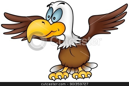 Flying Eagle stock photo, Flying Eagle - Colored cartoon illustration by derocz