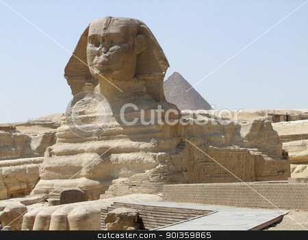 Sphinx and Pyramid of Menkaure stock photo, sunny illuminated scenery around Giza Necropolis in Egypt with Sphinx and Pyramid by prill
