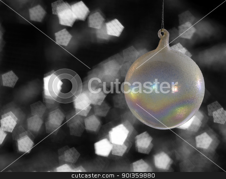 iridescent Christmas bauble stock photo, multicolored translucent Christmas bauble in blurry back by prill