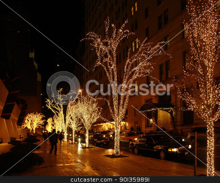 New York street scenery at Christmas time stock photo, beautiful illuminated city view of New York (USA) at Christmas time by prill