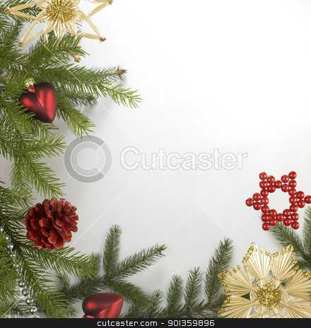 decorative christmas back stock photo, christmas decoration frame with various baubles on fir branch in light back by prill