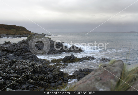 rocky coast in Scotland stock photo, coastal seaside scenery in Scotland by prill