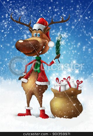 Christmas deer with branch stock photo, Christmas smiling deer with branch and bag with gifts illustration  by aos1212