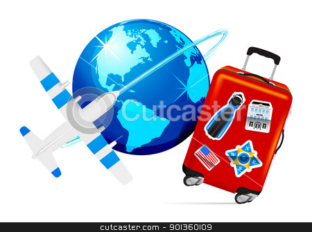 Airplane Travel with Suitcase stock photo, Airplane Travel with Suitcase and globe on white background. Vector illustration by sermax55